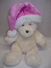 "DAN DEE White Plush Christmas TEDDY BEAR With Pink Santa Hat 18""  Super Soft !"