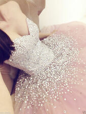 New Pink Beaded Formal Quinceanera Dress Ball Gown Long Party Prom Gowns Custom