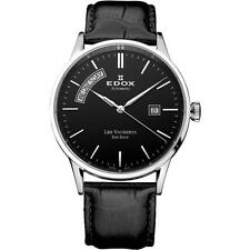 EDOX MEN'S LES VAUBERTS 40.5MM BLACK LEATHER BAND AUTOMATIC WATCH 83007-3-NIN
