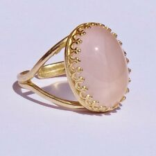 CELESTE DELILAH ROSE QUARTZ GOLD ROCK RING
