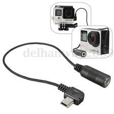 3.5mm Micro USB Microphone Mic Adapter Adaptor Cable For GoPro Hero 3+ 4 sj4000