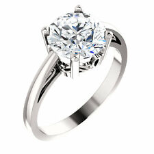 2 Ct Forever One Moissanite Round Solitaire Engagement  Ring 14k White Gold