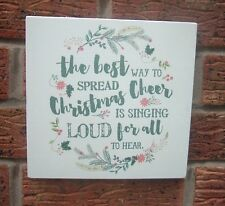 shabby & chic vintage the best way to spread christmas cheer xmas sign plaque