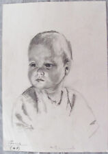 AUDREY KERMODE - BABY BOY - ORIGINAL GRAPHITE DRAWING C.1960 - FREE SHIP IN US !