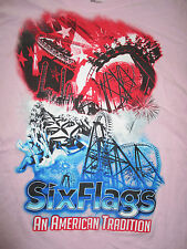 Roller Coaster SIX FLAGS An American Tradition (2XL) T-Shirt PINK