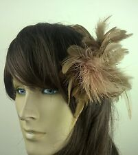 brown feather flower fascinator millinery hair clip wedding piece ascot race