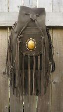Leather Suede Brown Rucksack tassle Festival Boho Bag
