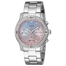 Guess U0774L1 Women's Pink & Blue Dial SS Bracelet Crystal Watch