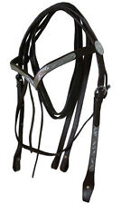 NEW FULL Western Show Leather Bridle Brown V Shape Silver Browband & Split Reins