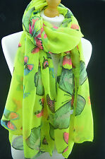 Butterfly Large Print Women Scarf Lady Shawl Stole Wrap Beach Sarong Lime Green