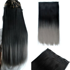 24'' Long Black Gray Ombre Hair Straight 3/4 Full Head Clip In Hair Extensions
