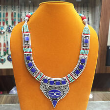 EXCELLENT TURQUOISE CORAL LAPIS VINTAGE TIBETAN SILVER NECKLACE FREE SHIPPING!!