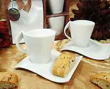 Biscotti Porcelain Wave Saucer Plates Espresso Turkish Tea Coffee Cups 4pcs Set