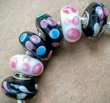 6PC Pink Blue Black Minnie Hearts Mickey Single Core European Murano Glass Beads