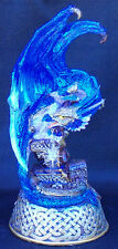 Blue Medieval Dragon LED Light w/ Crystal
