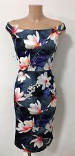 Elegant Eye Catching Floral Bardot Off Shoulder Wiggle Pencil Party  Dress Sz 10