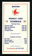 1974 Boston Red Sox Schedule