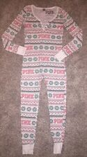 Victoria's Secret PINK Fair Isle Long John Thermal Onesie Pajama Small Christmas