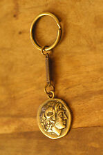 Ancient Greek Themed Keyring Key Chain - Alexander The Great Gold Zamac