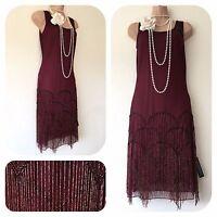 New Roman Tassel Fringe Beaded Embellished Flapper 20's Gatsby fancy Dress 10-20