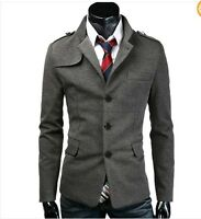 Trendy New Mens Slim fit Sexy Casual Pea coat Button Blazer Jacket IN 2Colors