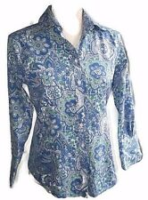 Brooks Brothers Blue/Green/White Floral Fitted Non-Iron Cotton/Silk Shirt-Sz 2