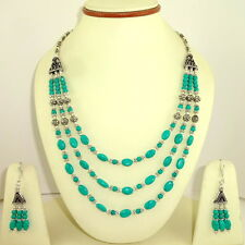 NATURAL TIBETAN  GREEN TURQUOISE GEMSTONE BEADED NECKLACE & EARRINGS 62 GRAMS