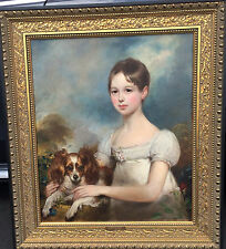 Sir William Beechey R.A. 1753- 1839  attr. Portrait of a young lady and her dog.