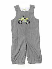 Toddler Boy Castles and Crown Black Gingham Motor Cycle Longall Romper Size 3T