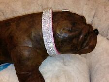 "Pink Swarovski Crystal Rhinestone Dog Collar fits 14-18"" necks"