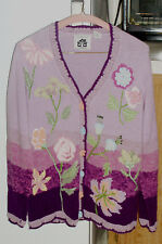 """BEAUTIFUL """"STORYBOOK KNITS"""" CARDIGAN - SHADES OF PURPLE - FLORAL DESIGN - SMALL"""