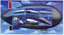 Bhutan 2000 MNH Zeppelin Man & His Airships 6v M/S III Zeppelins Aviation Stamps