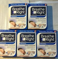 Lot Of 5 Breathe Right Nasal Strips ORIGINAL Tan Large 30 per box factory sealed
