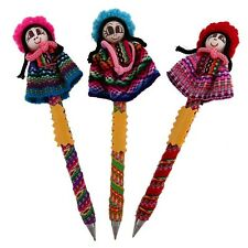 #1157 3 Worry Doll Pens Hand Made Fair Trade Peru School Story Children Writer