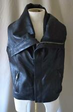 Rick Owens Black Leather Vest with Cowl Neck Size Small NEW w/o TAGS!