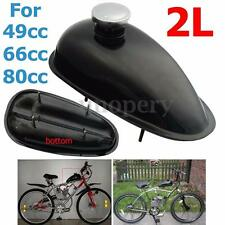 Motorized Bicycle 2L Fuel Gas Tank W/ Cap Kit Black For Honda Yamaha 49 66 80cc