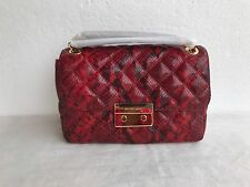 Michael Kors Sloan Large Chain Shoulder Snake Embossed Leather Shoulder Bag Red