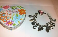 Brighton POWER OF PINK Charm Bracelet Watch Breast Cancer Awareness w/Heart Tin