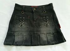 TRIPP NYC Daang Goodman mini skirt M black denim Goth Punk pleated laces
