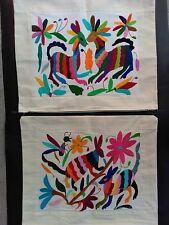 2 NEW MEXICAN HANDEMBROIDERED PILLOW CASES LATIN NATIVE TEXTILE LINENS ART CRAFT