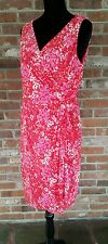 Ralph Lauren CHAPS V-Neck gather Faux Wrap Floral Dress sz XL Pink Red White