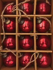"Red MERCURY Glass Christmas Ornaments 2"" Kugel New Vintage Set  12"