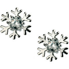 18ct white gold plated cute snowflake christmas kids stud earrings jewellery
