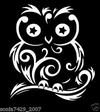 Cute Owl Swirls White vinyl sticker decal car truck JDM SUV wall hoot wise cute
