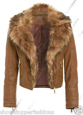 NEW Faux Fur BIKER JACKET Womens Crop FAUX LEATHER Ladies ZIP Size 8 10 12 14 16
