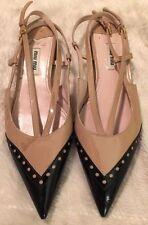 MIU MIU by PRADA Tan & Black Patent Leather Pointy Strappy Flats-Size 7.5 US 37