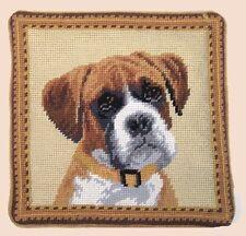 """Boxer Dog Needlepoint Pillow 10""""x10"""" NWT"""