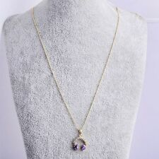 14K Gold Filled Womens Pendant Headset Purple Crystal Beads Charm Chain Necklace