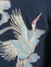 LUCKY BRAND Sweater Crane Cardigan EMBROIDERED - Beautiful!  Size: XS