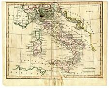 1803 Copper Engraving Hand Colored Map Italy Africa Turkey Darton & Harvey